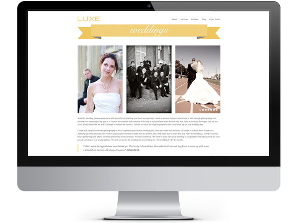 Luxe Photography website by Tippi Thole of Bright Spot Studio