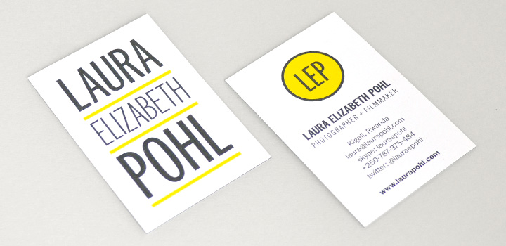 Business cards for Laura Elizabeth Pohl by Tippi Thole of Bright Spot Studio