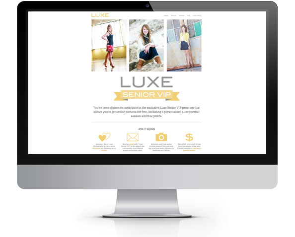 Luxe Senior VIP web page by Tippi Thole of Bright Spot Studio