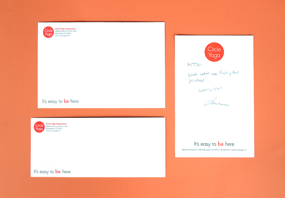 Circle Yoga envelopes and notepad design by Bright Spot Studio