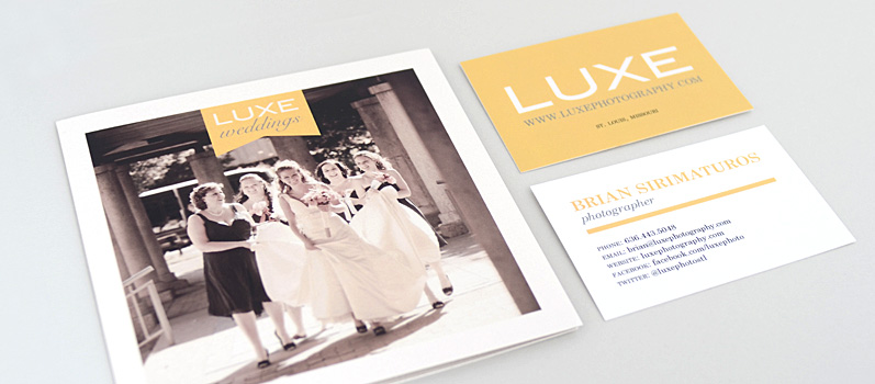 Luxe Photography wedding brochure and business cards by Tippi Thole of Bright Spot Studio