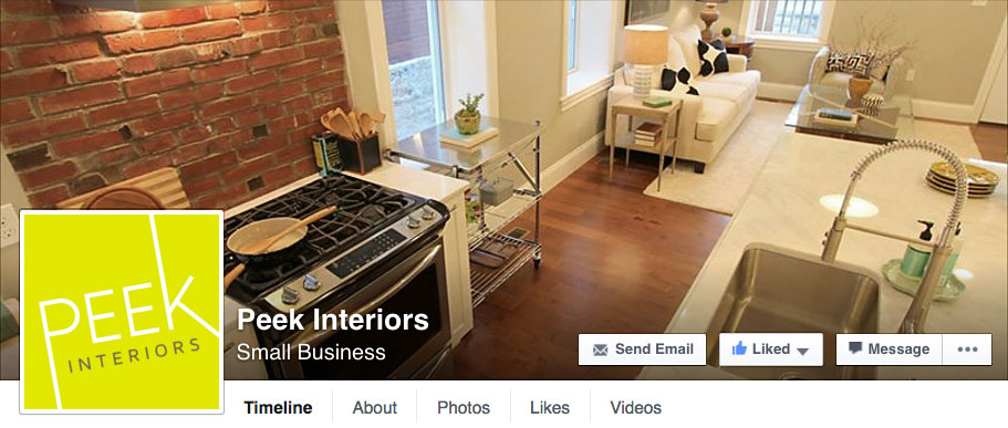 Peek Interiors Facebook branding by Tippi Thole of Bright Spot Studio