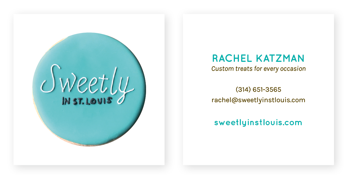 Bright Spot Studio project Sweetly in St. Louis business cards