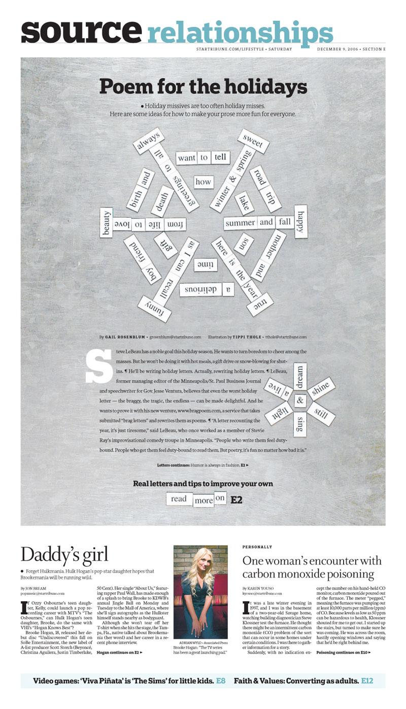 Tippi Thole editorial design portfolio: Poem for the holidays for Minneapolis Star Tribune
